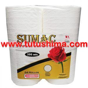 Papel Toalla Sumac Jumbo 200 mts x 4 Rollos