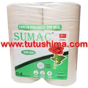Papel Toalla Sumac Jumbo Ecologico 300 mts x 4 Rollos