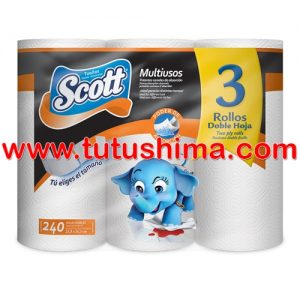 Papel Toalla Scott Multiuso Doble Hoja x 3 Rollos