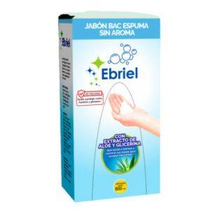 Jabón Espuma Ebriel Sin Aroma Con Extracto de Áloe y Glicerina 800 ml