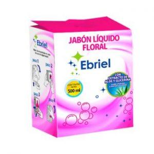 Jabón Líquido Ebriel Floral Con Áloe  y Glicerina 500 Ml x 18 Un