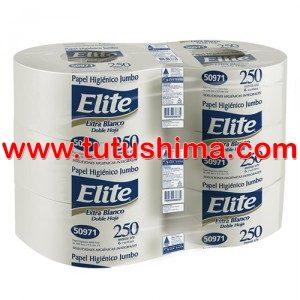 Papel Higiénico Elite Jumbo Doble Hoja Extra Blanco 250 M x 6 Rollos